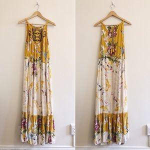 Anthropologie Yellow Koi Fish Paradiso Maxi Dress